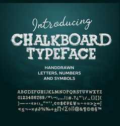 Chalkboard typeface letters and numbers vector image vector image