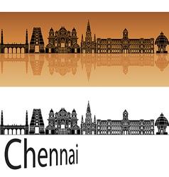Chennai skyline in orange vector image vector image