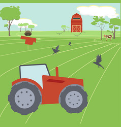 farming landscape with tractor vector image