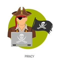 Piracy Concept with Pirate Icon vector image