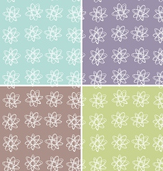 set 4 floral seamless pattern vector image vector image