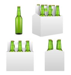 beer bottle mockup set realistic vector image vector image