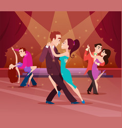 couples on dance floor cartoon characters dancing vector image