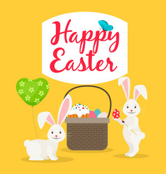 easter basket and rabbits greeting card vector image