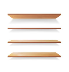 empty wood shelves template set isolated vector image vector image