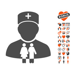 Family doctor icon with lovely bonus vector