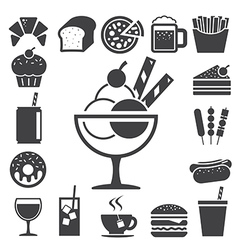 Fast food and dessert icon set eps10 vector
