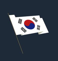 flat style waving republic of korea flag vector image vector image