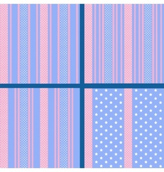 pastel striped star patterns vector image vector image