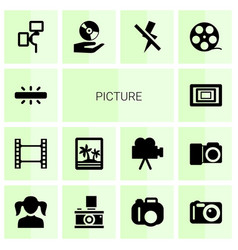 14 picture icons vector image