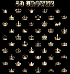 a set gold crowns on a black background vector image