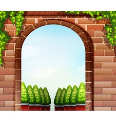 A stonewall and the decorative plants vector