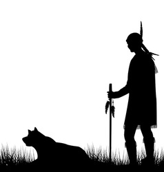 American Indian silhouette with dog vector