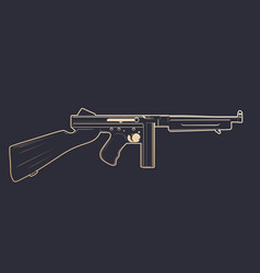 American submachine gun with gold outline vector
