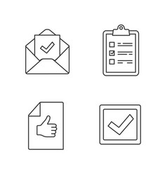 Approve linear icons set vector