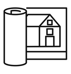 architect house project icon outline style vector image