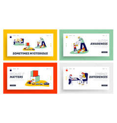 Autism landing page template set little children vector