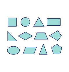 Basic 2d shape set geometric shapes vector