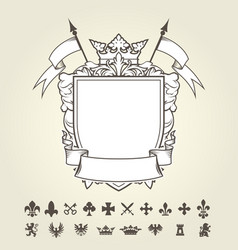Blank template of coat of arms with shield vector