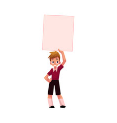 boy child kid holding blank empty poster board vector image