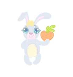 Bunny With A Heart Shaped Carrot vector image