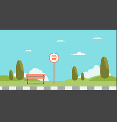 bus stop of main street city bus stop signs vector image