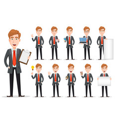 Business man with blond hair set vector