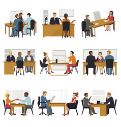 Business people sitting room long time amusing vector