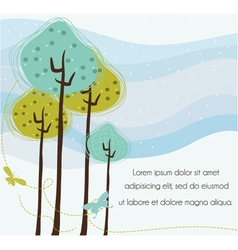 Butterflies with trees vector