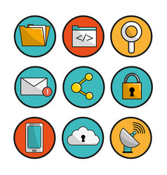 button icons connection services data vector image