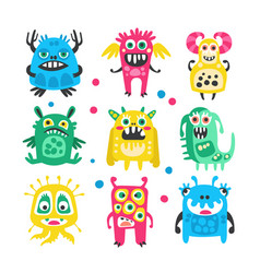 cartoon cute funny monsters aliens and bacterias vector image