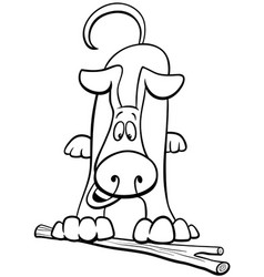 cartoon dog character with stick color book vector image
