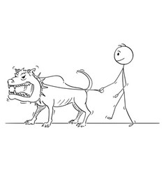 cartoon man walking with beast monster vector image