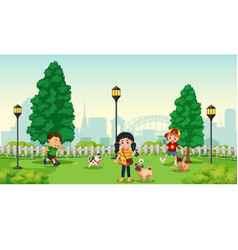 children with pet at park vector image