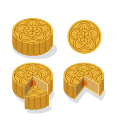 Chinese moon cake with floral pattern vector