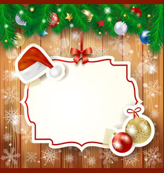 christmas background with fir and label vector image