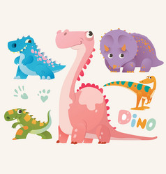 Collection of cute dino set 1 of colorful vector