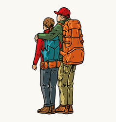 Colorful vintage concept hikers couple vector