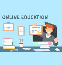 Colourful online education the vector