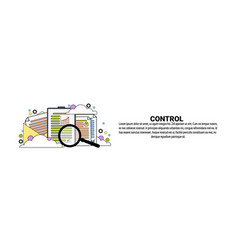 Control business concept horizontal web banner vector