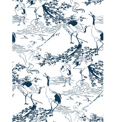 cranes japanese pines pattern traditional vector image