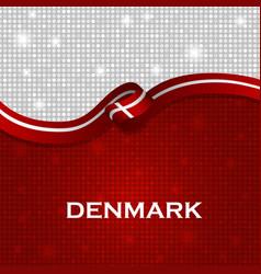 Denmark flag ribbon shiny particle style vector
