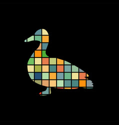 duck bird color silhouette animal vector image
