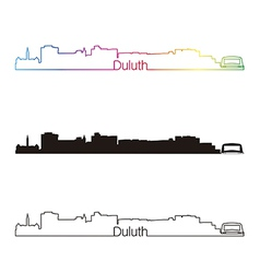 Duluth skyline linear style with rainbow vector