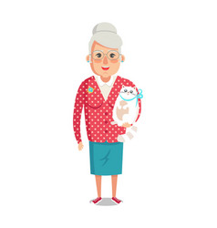 elderly woman in red jacket pet cat grandmother vector image