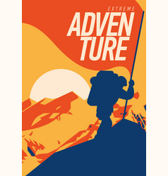 Extreme outdoor adventure poster climber on peak vector