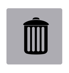 Figure emblem metal trash can icon vector