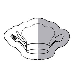figure hat with cutlery icon vector image