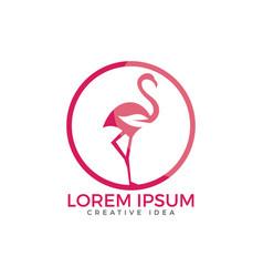 flamingo with leaf sign logo design vector image