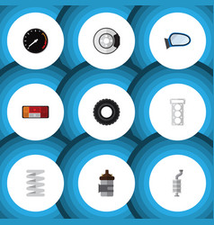 flat icon auto set of headlight packing auto vector image